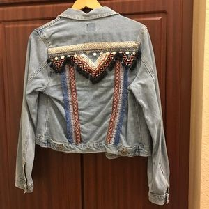 Boho Denim Jean Jacket Small Medium